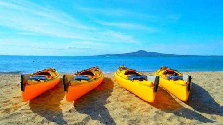 Kayaks on the Beach   Courtesy of Auckland Sea Kayaks