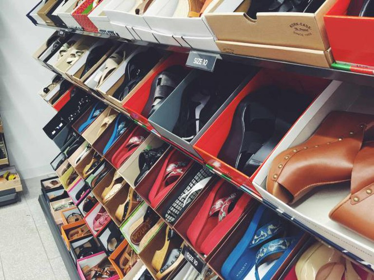 Shoe Rack at Saks OFF 5TH SF| Courtesy Ellen Frank-Delgado
