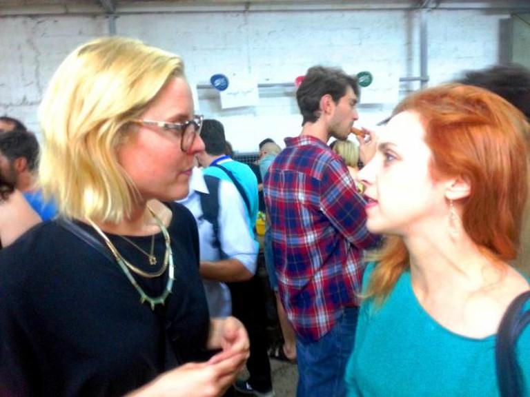 Shai Schevach, SFNY Coordinator in Israel, chatting slow food with Keren Brown, an international food entrepreneur, courtesy of Yael Tamar