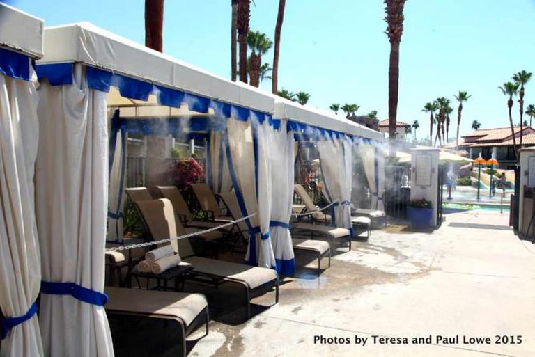 Enjoy your own private cabana just near the onsite waterpark Splashtopia at Rancho Las Palmas Resort and Spa