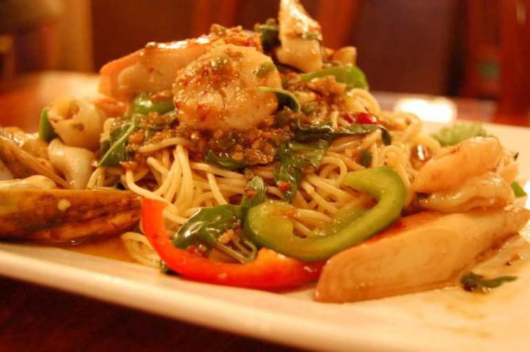 Thai seafood spaghetti