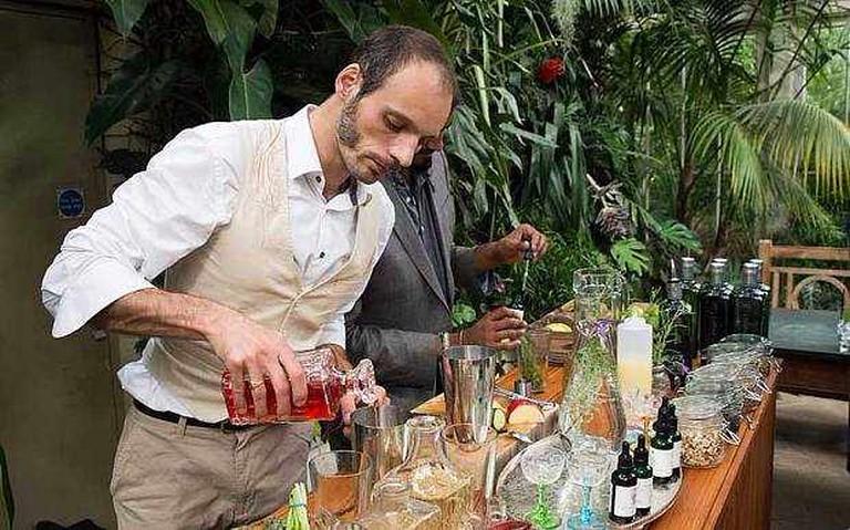 Barman making cocktails at the bar