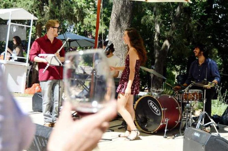 Daniel Rubin and the Band Performing at the Rosh Pinna Wine Festival, Courtesy of Yael Tamar