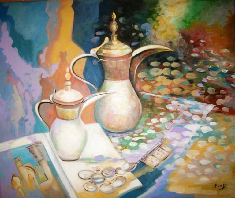 Bahraini Coffee Pots, Acrylic on Canvas | Image Courtesy of Ella Prakash