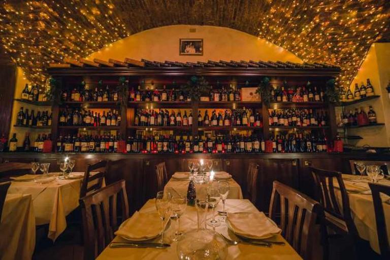 La Giostra interior and wine collection | Courtesy La Giostra