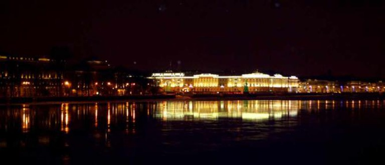 The view from Vasilievsky Island by night | Courtesy of Stefan Hunt