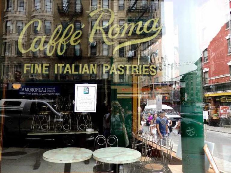 exterior window of Caffé Roma