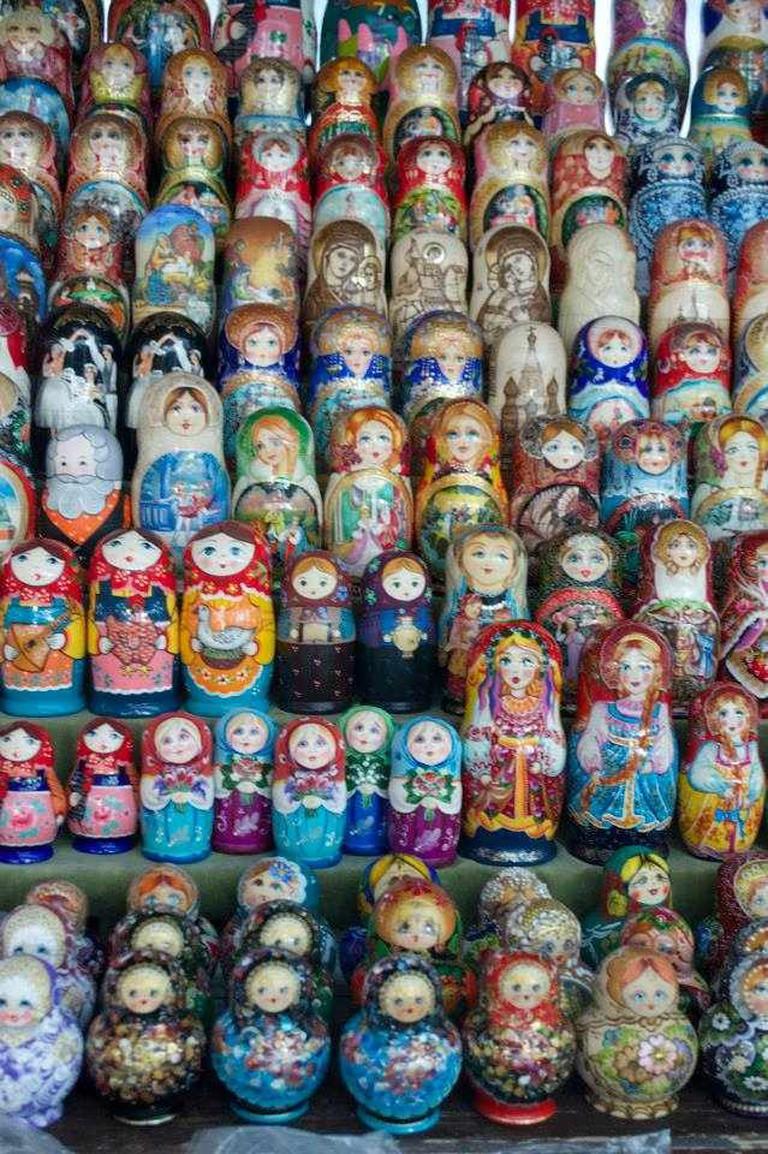 Rows upon rows of matryoshki dolls at Moscow's Izmailovsky Market | Courtesy of Stefan Hunt