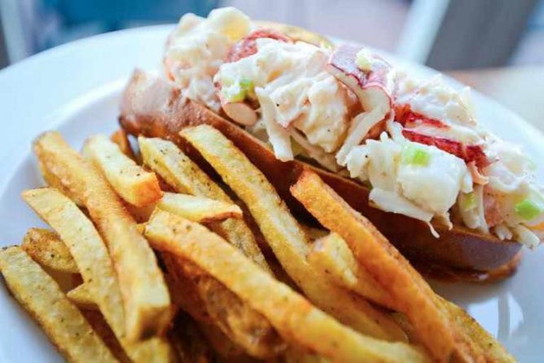 Hank's classic Lobster Roll with Old Bay French Fries | Photo by Daniel Swartz