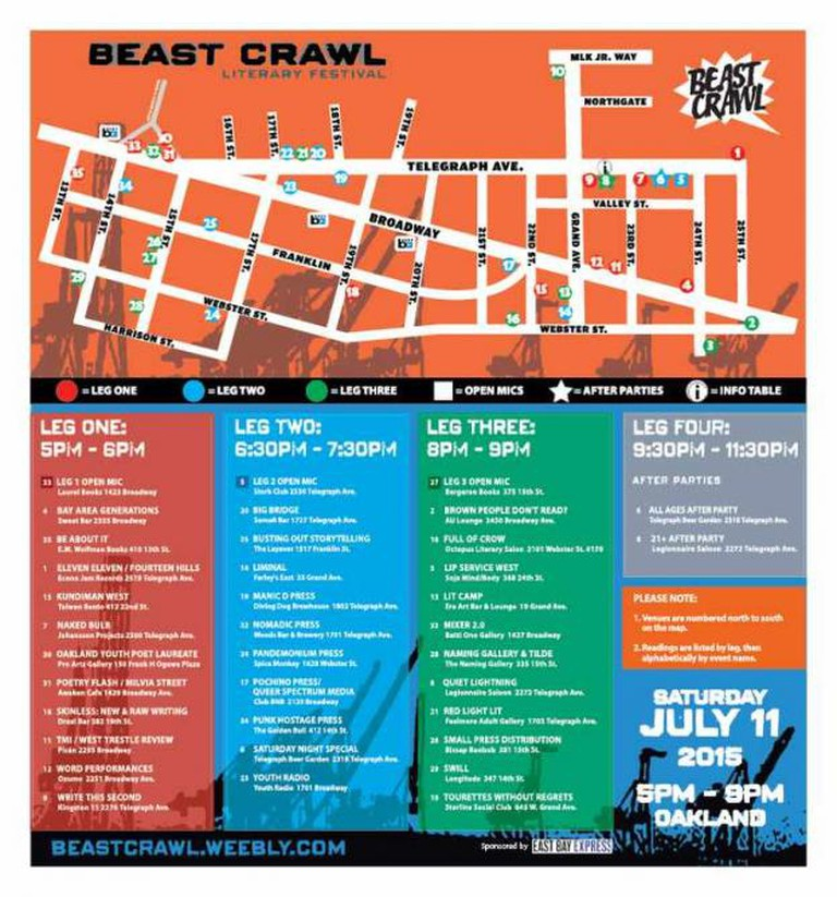 Beast Crawl Map | © East Bay Express