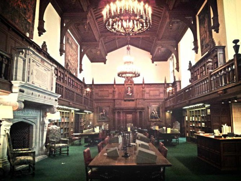 The interior of Folgers Shakespeare Library mirrors the style of old Elizabethan days.