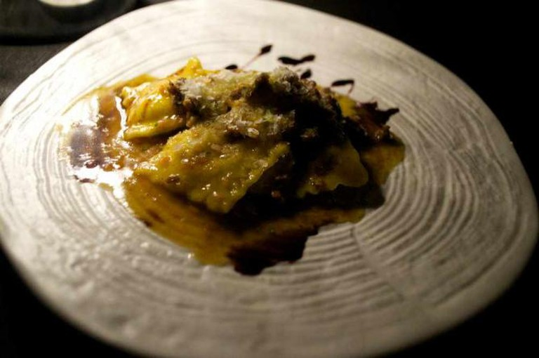 Exquisite mascarpone ravioli in duck ragout and red wine reduction at All'Oro | Courtesy of Stefan Hunt