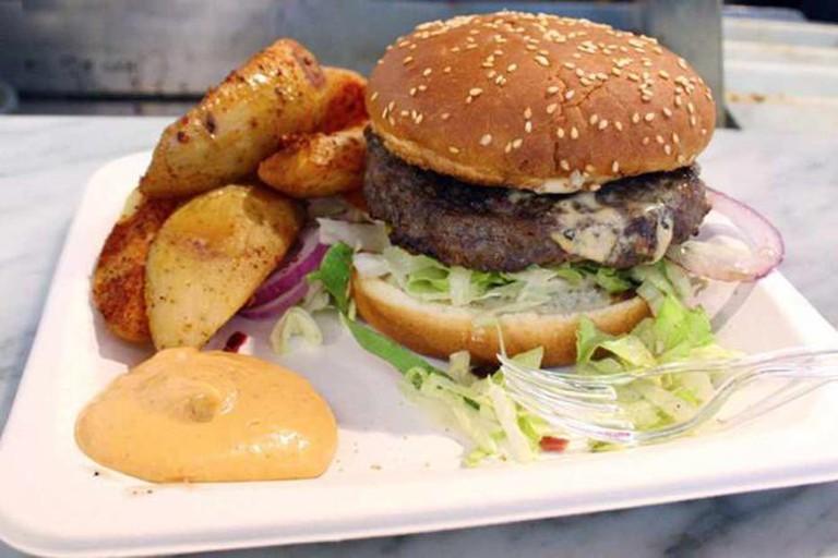 Delicious Deli Bar Hambuger and potato wedges  © Alex Kojfman