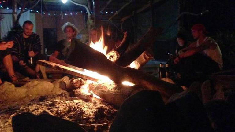 A campfire in Pai