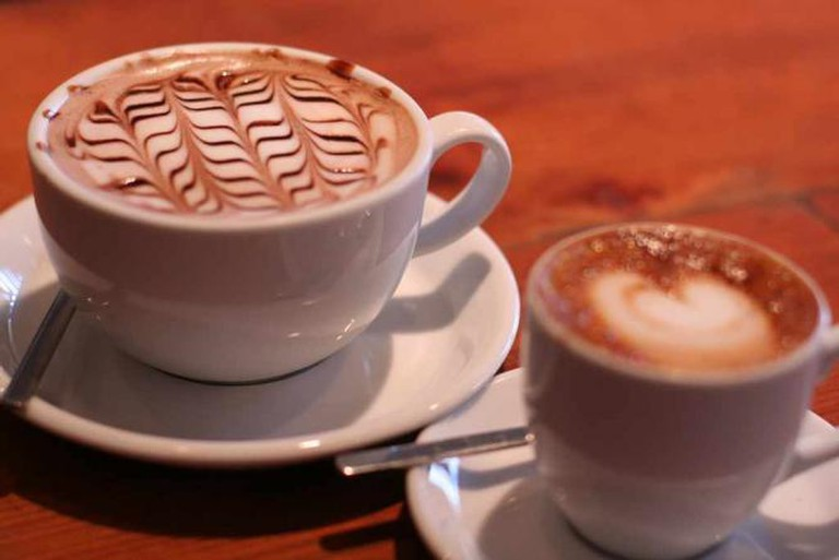 Hot chocolate and a machiato at Albina Press