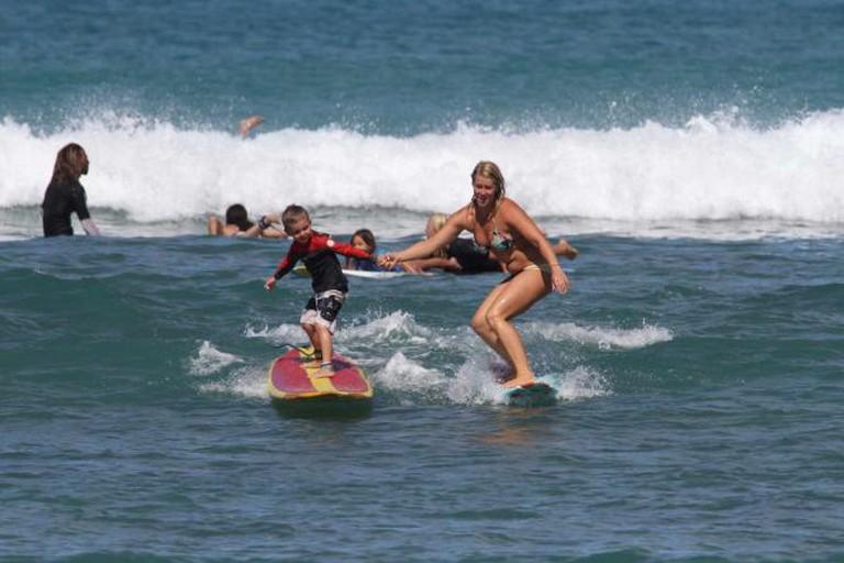 Surfing school at Waikiki