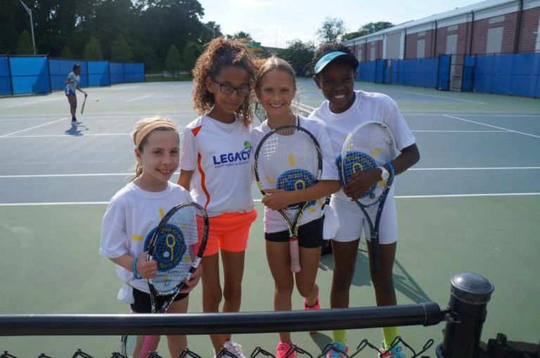 """Children from the ITC and Legacy Youth Tennis and Education in Philadelphia, as part of the ITC's """"Children to Children Tennis Diplomacy Exchange"""" program 