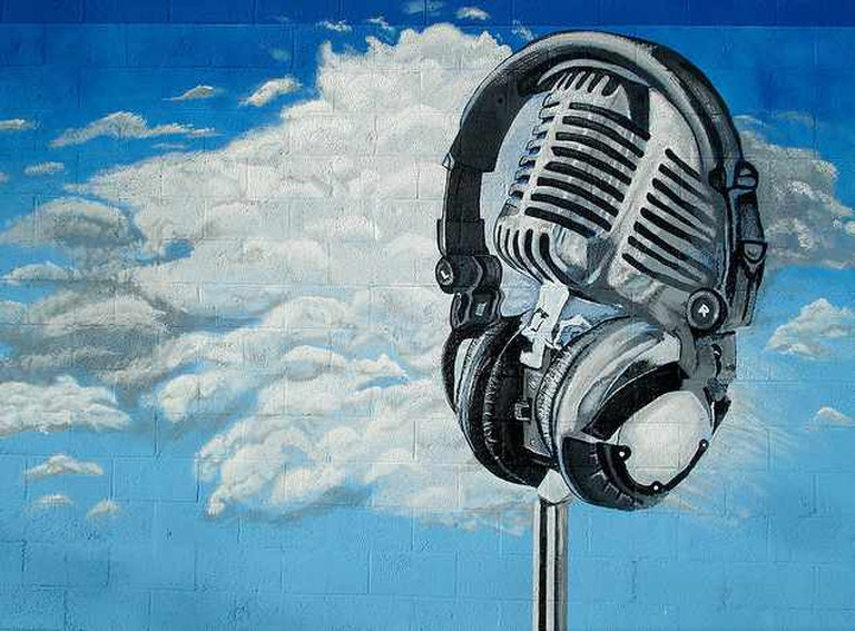 Headphones on a vintage mic   © Surat Lozowick
