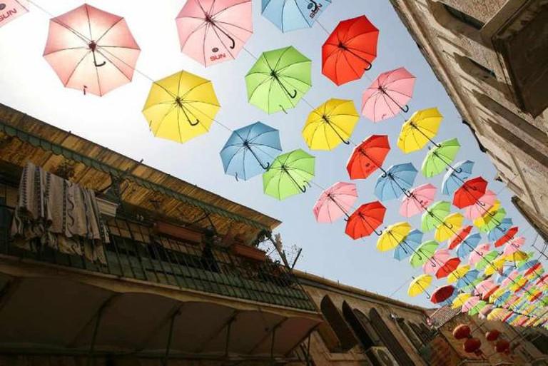 Umbrellas Decorating Yoel Moshe Solomon street