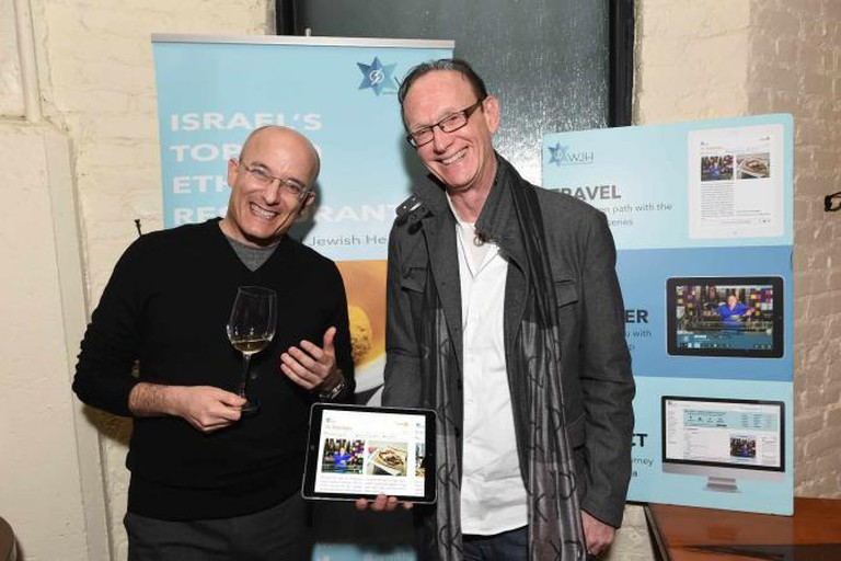 Gil Hovav and Jack Gottlieb at the launch of their ebook, Israel's Top 100 Ethnic Restaurants | Courtesy of World Jewish Heritage