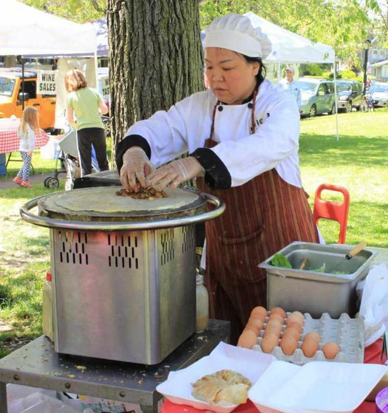 Asian Pork Crêpes at Elmwood-Bidwell Farmers' Market