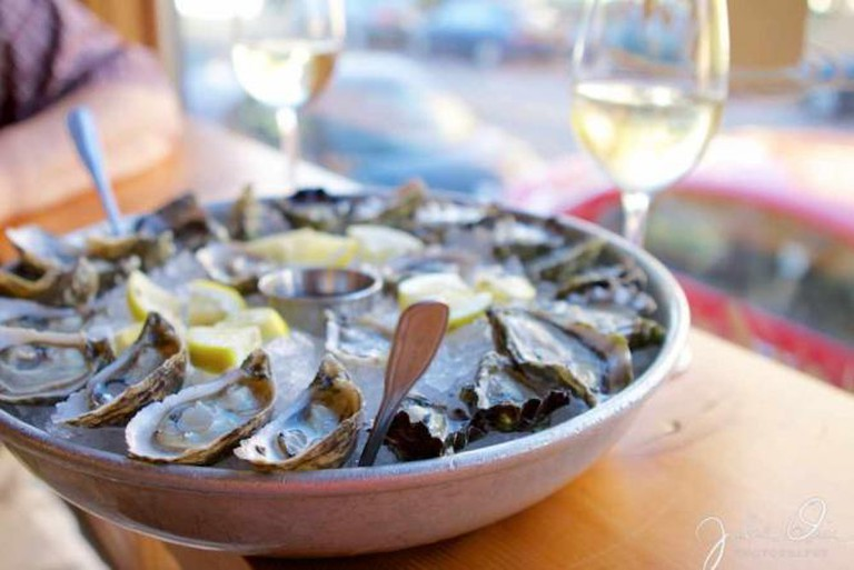 Oysters and wine at Taylor Shellfish Oyster Bar