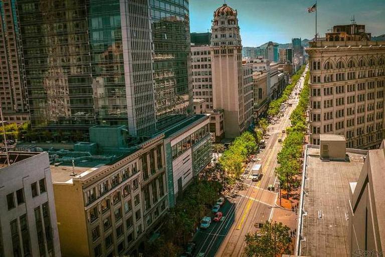 Market Street Aeriel View | © Sonny Abesamis/Flickr