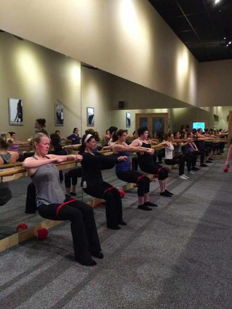 Chair Position in Pure Barre Class | ©Pure Barre West Portal