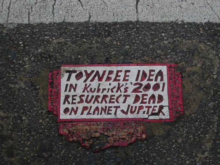 A Toynbee Tile on 15th Street in Philadelphia.