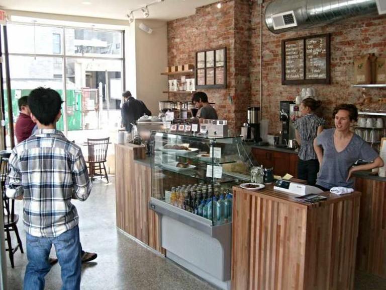 The sleek interior of Ultimo Coffee.