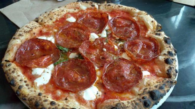 A spicy soppressata bar pizza from Nomad Pizza Co.