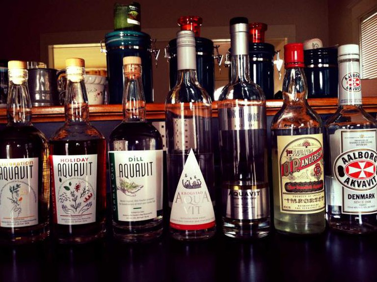 A bottle of North Shore Aquavit, third from right, stands as some of the best aquavit in the region.
