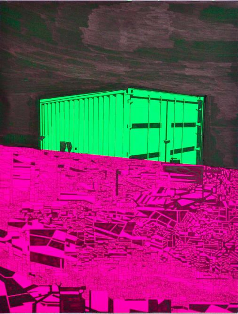 A Place For Ugliness (2014), Marker pen on fluorescent paper (30x39cm) | © Lawrence James Bailey