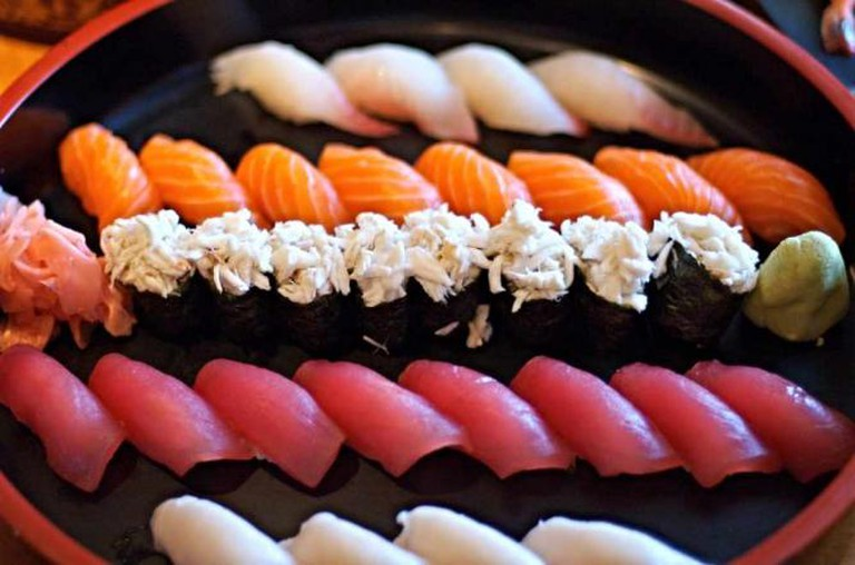 A fresh sushi platter at Matsuri Japanese Restaurant.