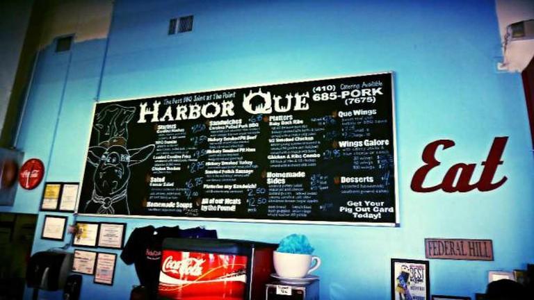 The chalkboard menu at Harbor Que BBQ.