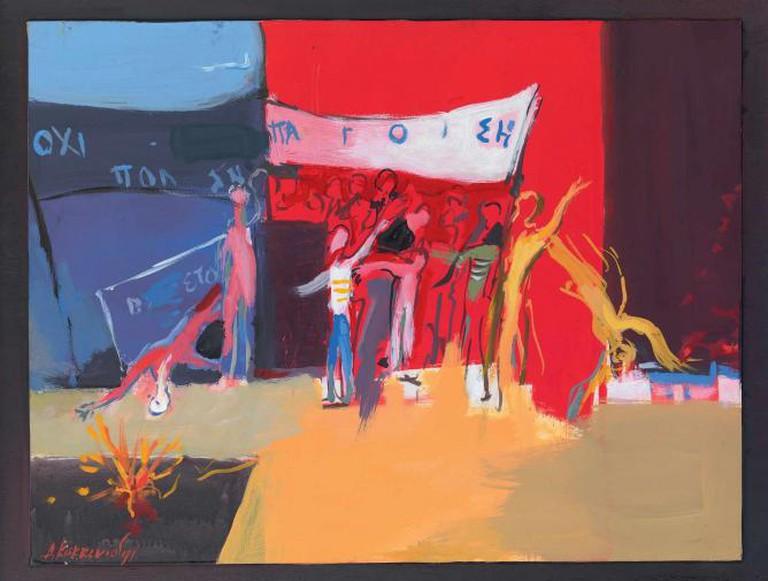 "Demosthenis Kokkinidis, Series ""Protests,"" Acrylic on Wood, 49x64 cm, 1974-1981 | Courtesy of Citronne Gallery"