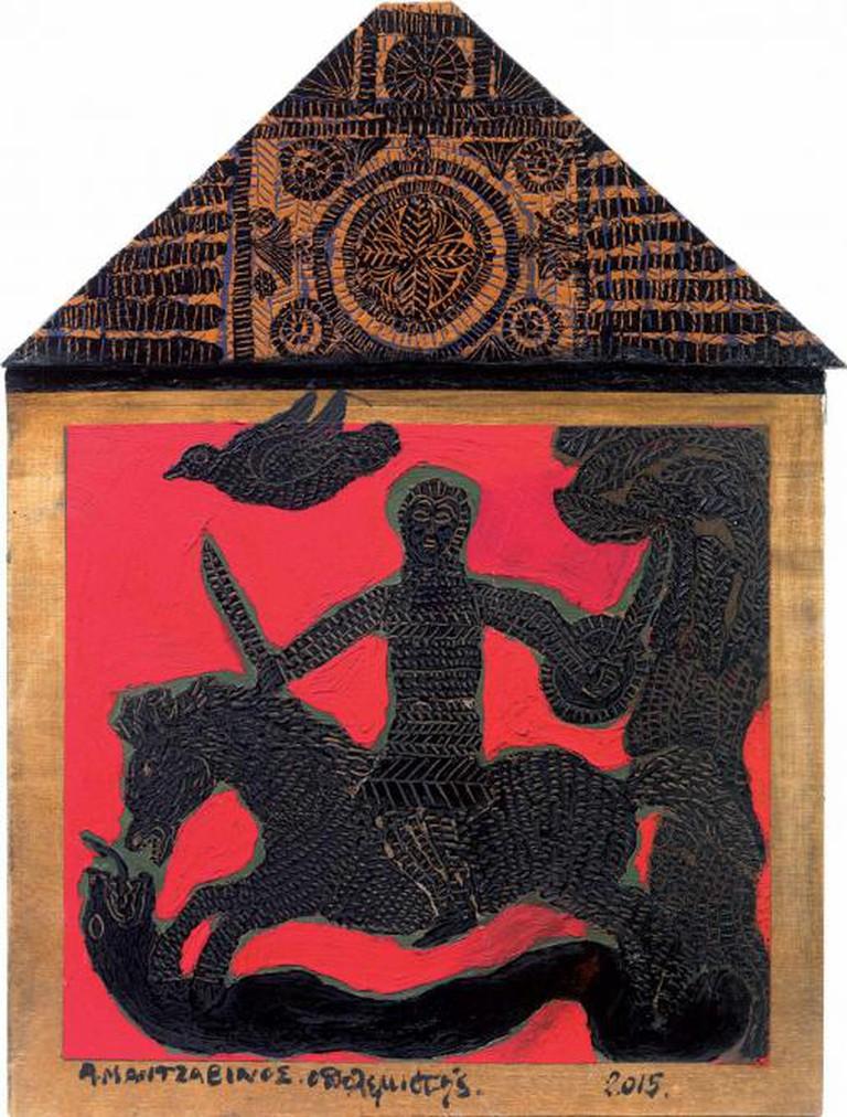 Tasos Mantzavinos, Warrior, Oil on Wood, 50x35 cm, 2015 | Courtesy of Citronne Gallery