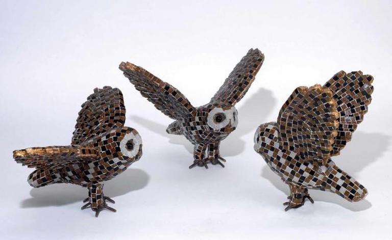 Aphrodite Litti, Owls. Metal, Murano Tesserae, 2015 | Courtesy of Citronne Gallery