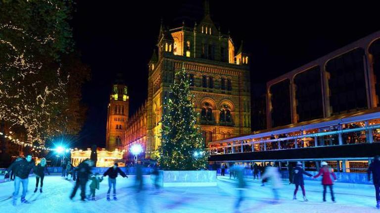 Festive ice skating after dark