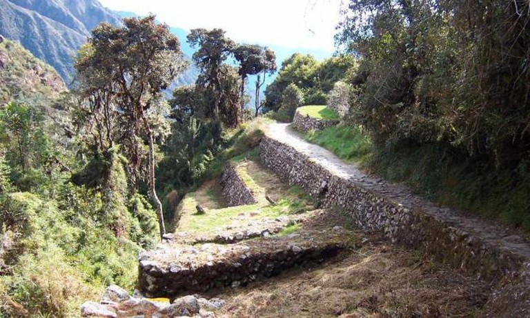 Section of the Inca trail leading to Machu Picchu