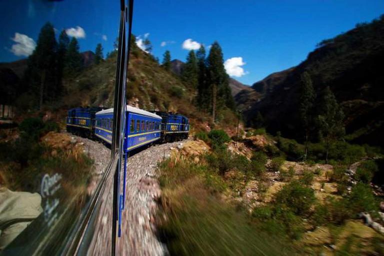 Peru Rail Train heading to Machu Picchu