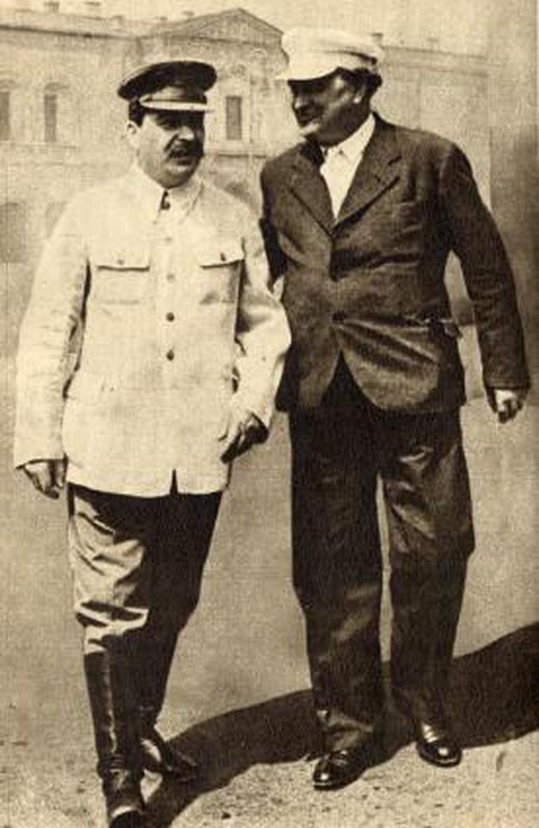 Georgi Dimitroff (right) standing with Joseph Stalin (left)