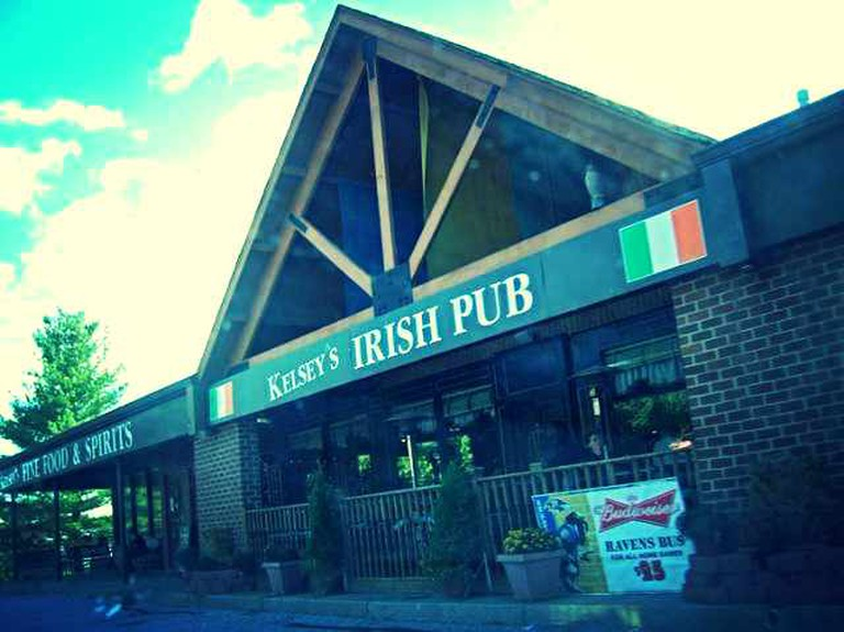 The outside of Kelsey's Irish Pub in Ellicott City, Baltimore.