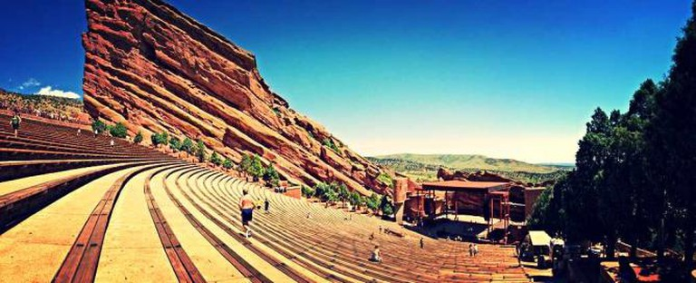 A view of Red Rocks Ampitheater where world-renown bands play next to the unique sandstone monuments.