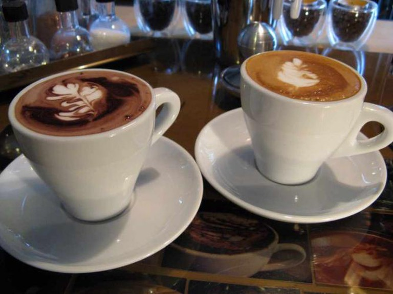 A photo of two coffees