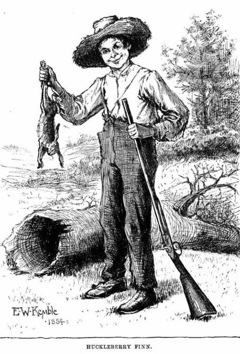 Huckleberry Finn with a rabbit and a gun