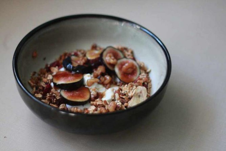 Greek yogurt with homemade granola and fresh figs