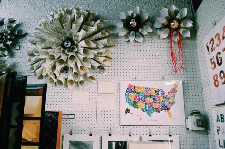 Paper wreaths decorate McManus & Morgan   © Michelle Pagaran