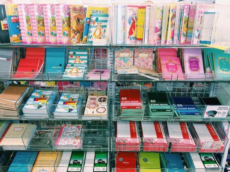 Daiso Japan's colorful selection of notebooks   © Michelle Pagaran