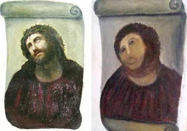 Elías García Martínez's original Ecce Homo and Cecilia Giménez's restoration   © OgreBot/WikiCommons